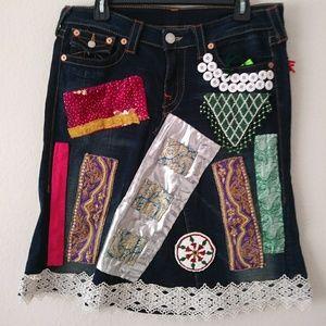 Jean skirt boho vantige upcycels from jans pants.
